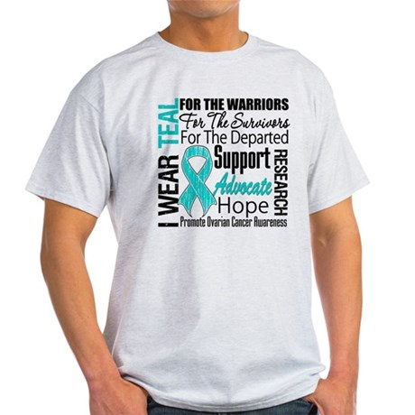 Teal Collage Ovarian Cancer Light T-Shirt