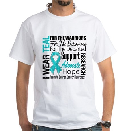 Teal Collage Ovarian Cancer White T-Shirt