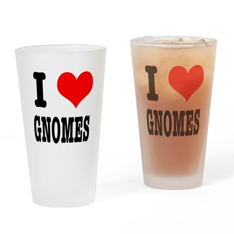 I Heart (Love) Gnomes Pint Glass