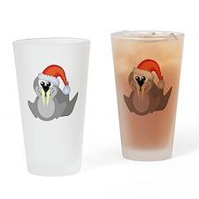 Cute Walrus Santa Claus Pint Glass