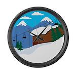 Ski lift Large Wall Clock