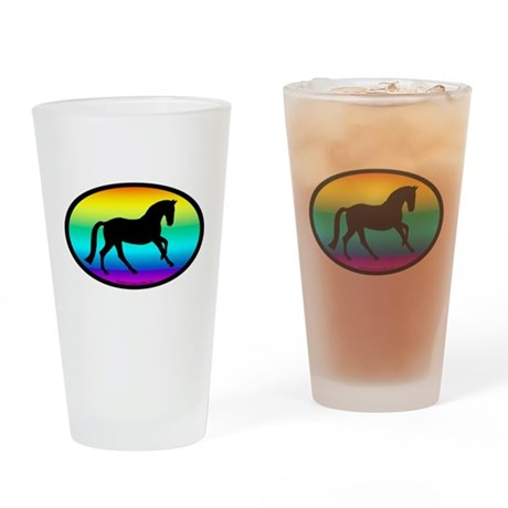 Canter Horse Rainbow Oval Pint Glass