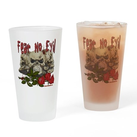 Fear No Evil Skull and Rose Pint Glass
