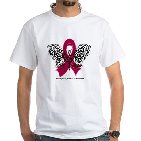 Multiple Myeloma Tribal White T-Shirt