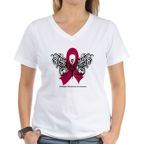 Multiple Myeloma Tribal Women's V-Neck T-Shirt