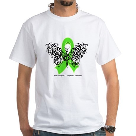 Non-Hodgkin's Lymphoma Tribal White T-Shirt