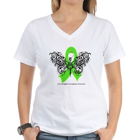 Non-Hodgkin's Lymphoma Tribal Women's V-Neck T-Shi