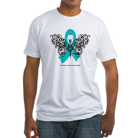 Ovarian Cancer Tribal Butterfly Fitted T-Shirt