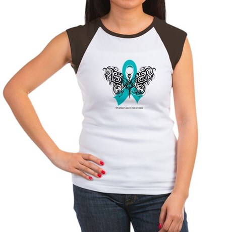 Ovarian Cancer Tribal Butterfly Women's Cap Sleeve