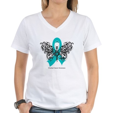 Ovarian Cancer Tribal Butterfly Women's V-Neck T-S