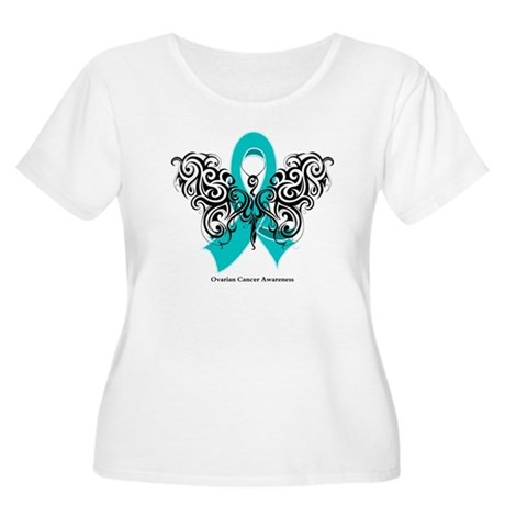 Ovarian Cancer Tribal Butterfly Women's Plus Size