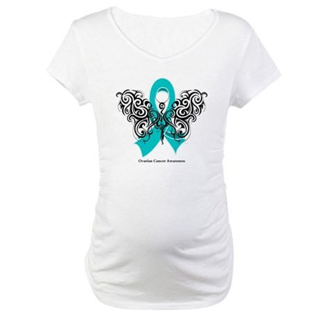Ovarian Cancer Tribal Butterfly Maternity T-Shirt