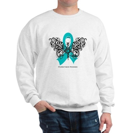 Ovarian Cancer Tribal Butterfly Sweatshirt