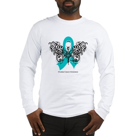 Ovarian Cancer Tribal Butterfly Long Sleeve T-Shir