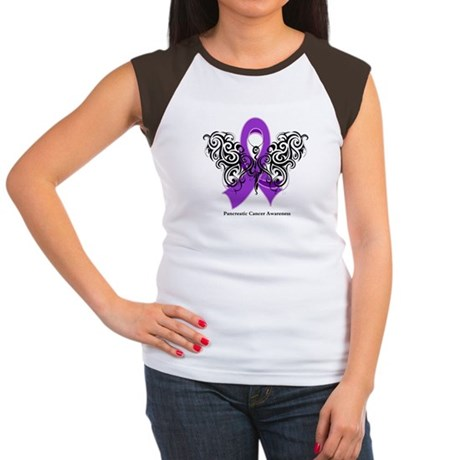 Pancreatic Cancer Tribal Women's Cap Sleeve T-Shir