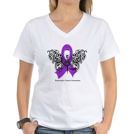 Pancreatic Cancer Tribal Women's V-Neck T-Shirt