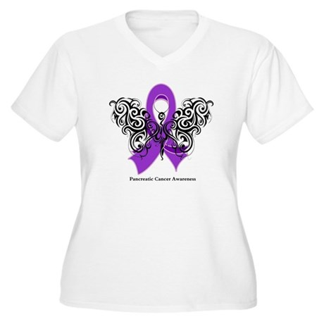 Pancreatic Cancer Tribal Women's Plus Size V-Neck