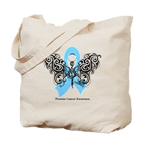 Prostate Cancer Tribal Butterfly Tote Bag