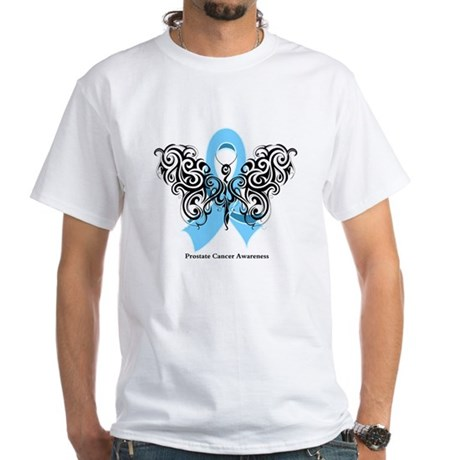 Prostate Cancer Tribal Butterfly White T-Shirt