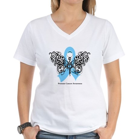 Prostate Cancer Tribal Butterfly Women's V-Neck T-