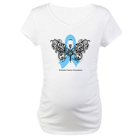 Prostate Cancer Tribal Butterfly Maternity T-Shirt