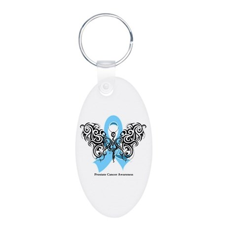 Prostate Cancer Tribal Butterfly Aluminum Oval Key