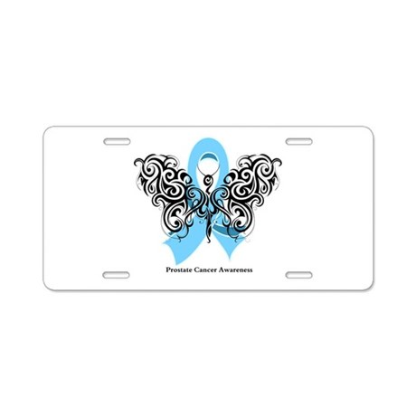 Prostate Cancer Tribal Butterfly Aluminum License