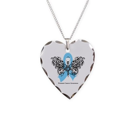 Prostate Cancer Tribal Butterfly Necklace Heart Ch