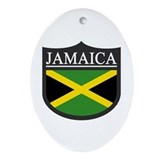 Jamaica Flag Patch Ornament (Oval)