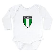 Nigeria Flag Patch Long Sleeve Infant Bodysuit