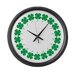 Shamrocks Large Wall Clock