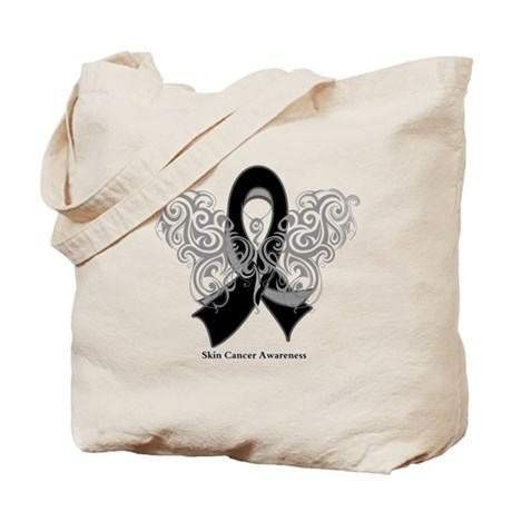 Skin Cancer Tribal Butterfly Tote Bag