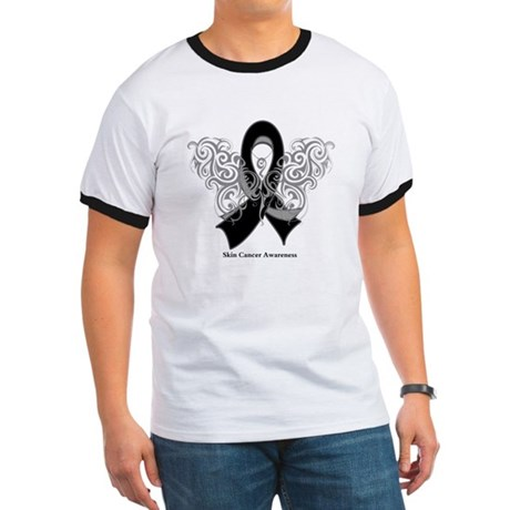 Skin Cancer Tribal Butterfly Ringer T