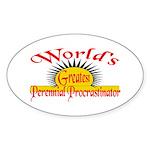 Procrastinator Oval Sticker