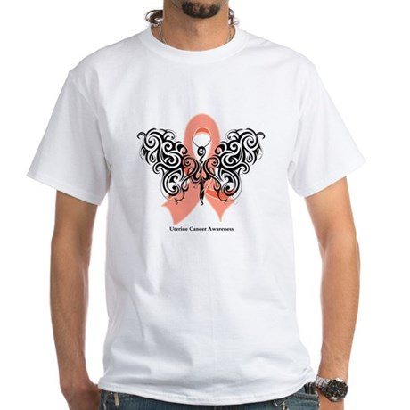 Uterine Cancer Tribal White T-Shirt