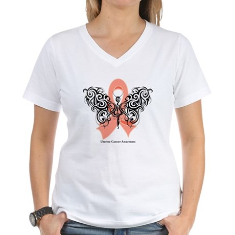 Uterine Cancer Tribal Women's V-Neck T-Shirt