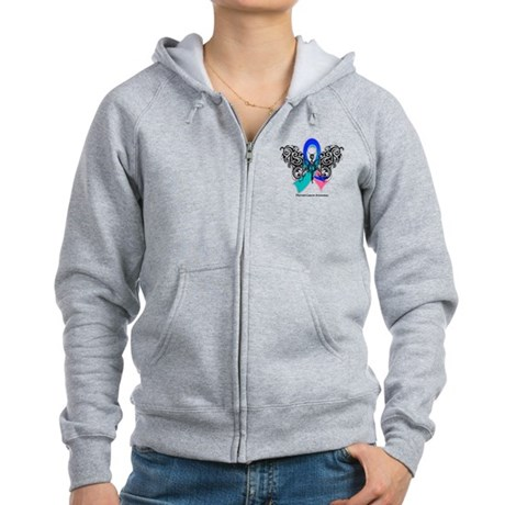 Thyroid Cancer Tribal Butterfly Women's Zip Hoodie