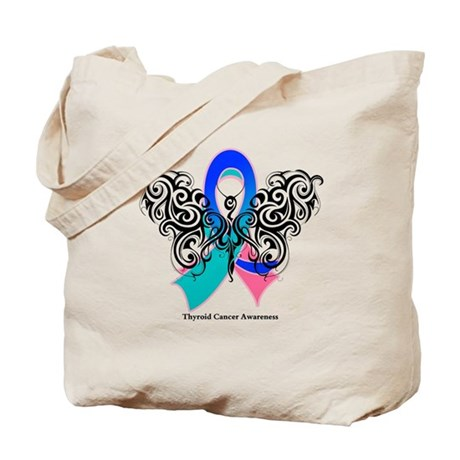 Thyroid Cancer Tribal Butterfly Tote Bag