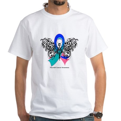 Thyroid Cancer Tribal Butterfly White T-Shirt