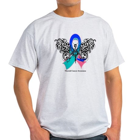 Thyroid Cancer Tribal Butterfly Light T-Shirt
