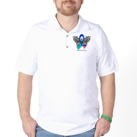 Thyroid Cancer Tribal Butterfly Golf Shirt