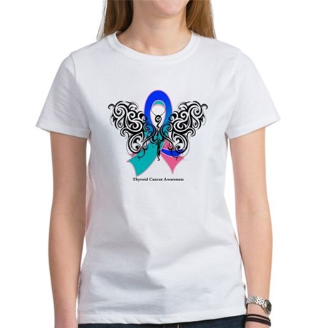 Thyroid Cancer Tribal Butterfly Women's T-Shirt