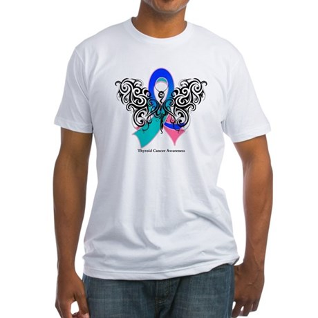 Thyroid Cancer Tribal Butterfly Fitted T-Shirt