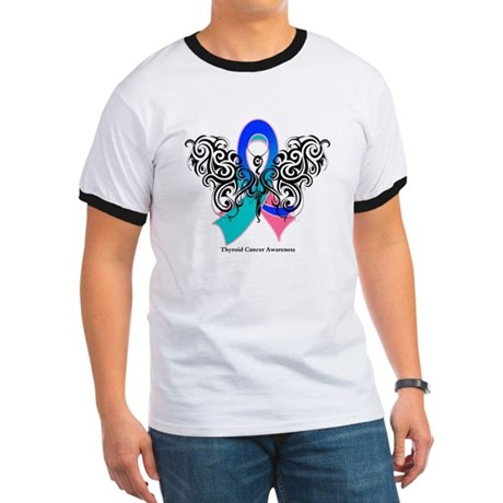 Thyroid Cancer Tribal Butterfly Ringer T