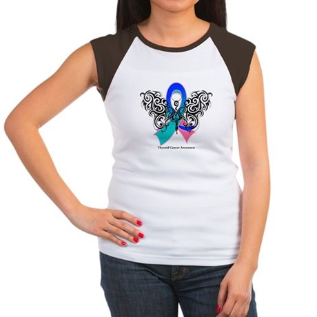 Thyroid Cancer Tribal Butterfly Women's Cap Sleeve