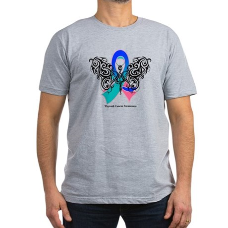 Thyroid Cancer Tribal Butterfly Men's Fitted T-Shi