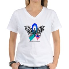 Thyroid Cancer Tribal Butterfly Women's V-Neck T-S