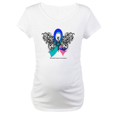 Thyroid Cancer Tribal Butterfly Maternity T-Shirt