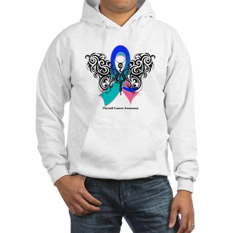 Thyroid Cancer Tribal Butterfly Hooded Sweatshirt