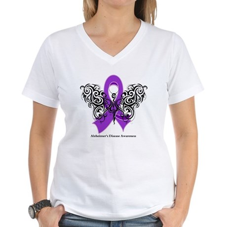 Alzheimer's Disease Tribal Women's V-Neck T-Shirt